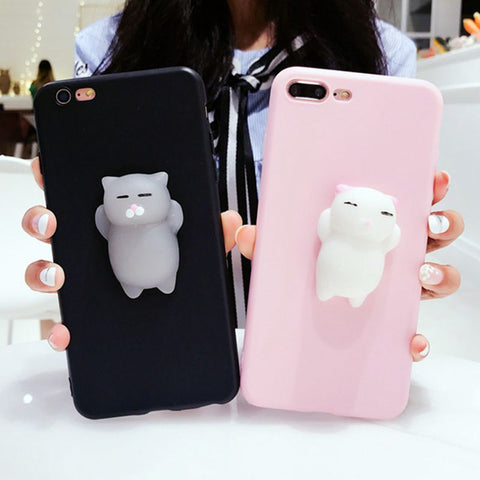Aokin silicone 3D cute Squishy Cat kitty iPhone case for iPhone 5s 6 6s 7 8 plus x 10 - MyiCases
