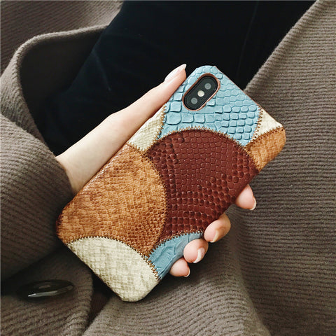 BINYEAE PU Snake Skin Combine Colors Case for iPhone 6 6S Plus 7 8 Plus X
