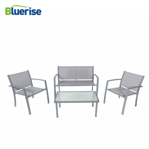 BLUERISE 4 Piece Outdoor Patio Furniture Set Textilene Fabric All-weather Water Proof Grey Armored glass easy care clean - MyiCases