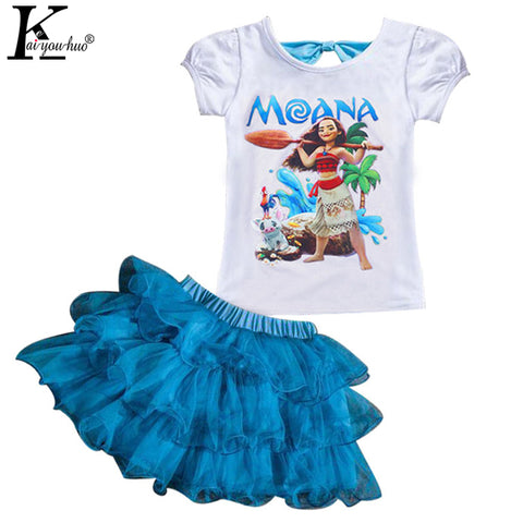 Children Clothing Sets MOANA Sport Suit Baby Girls Clothes Sets Summer T-shirt+Tutu Skirt Tracksuit For Girls - MyiCases