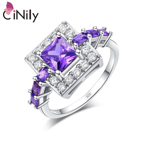 CiNily Silver Plated Princess Cut Purple Zircon Square Shape - MyiCases