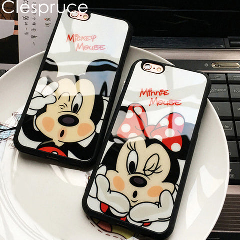 Clespruce Cartoon Mirror Mickey Mouse Minnie cover soft silicone Phone case For iPhone X 8 8plus 7 6 6s plus 5s SE Luxury Coque - MyiCases