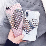Electroplate Rivet Heart Case iPhone 6 6S 7 8 Plus X Fashion Cool Soft TPU