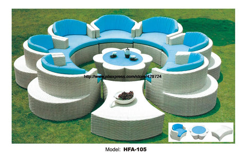 Flower Shaped Rattan Sofa Set Outdoor Wicker Sofa Furniture 7 Seat Garden Furniture with Table Ottoman Wicker Patio Furniture - MyiCases