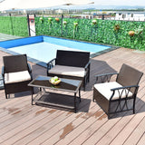 Giantex 4 PC Garden Furniture Set Outdoor Patio Sectional PE Wicker Rattan Deck Table Sofa Chairs Set with Cushions HW55431 - MyiCases
