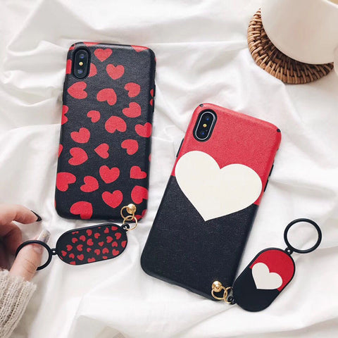 LACK Soft Silk Love Heart Phone Case For iphone X