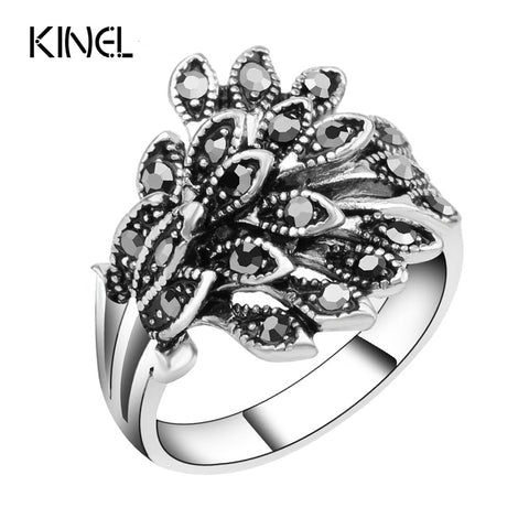 Kinel Silver Mosaic Black Crystal Anillo Ring