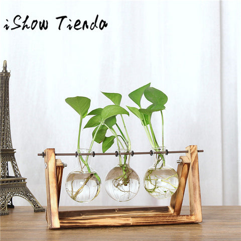 ISHOWTIENDA Vintage Creative Hydroponic Plant Transparent Vase Wooden Frame Coffee Shop Room Glass Tabletop Plant - MyiCases