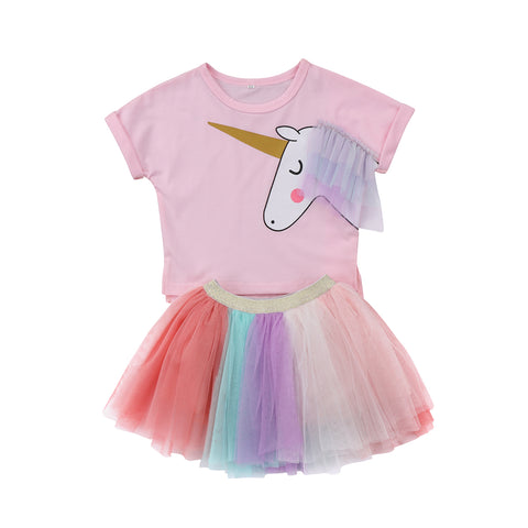 Baby Girls Printed Top T-shirt +Lace Tutu Skirt Set - MyiCases