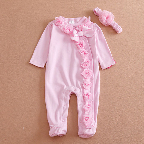 Baby Girls T-shirt Pants Conjoined+Headband Cotton Flowers Set - MyiCases