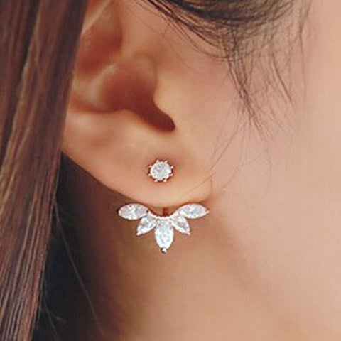 Zhilie Korean Gold and Silver Plated Leave Crystal Stud Earrings