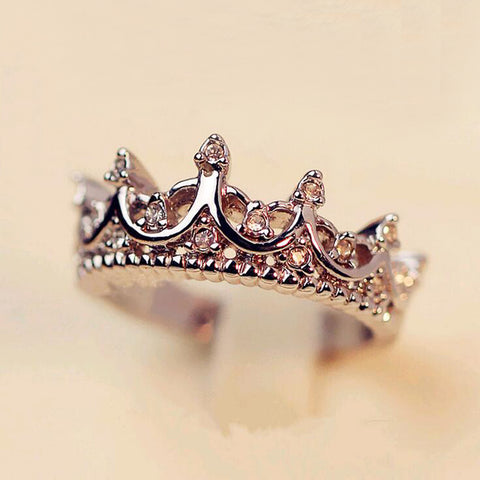 FAMSHIN Korean Style Retro Crystal Drill Hollow Crown Shaped Queen Temperament Ring