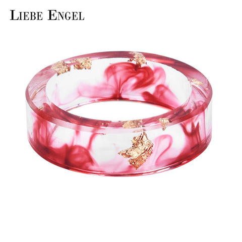 LIEBE ENGEL Gold Foil Paper Inside Resin Ring