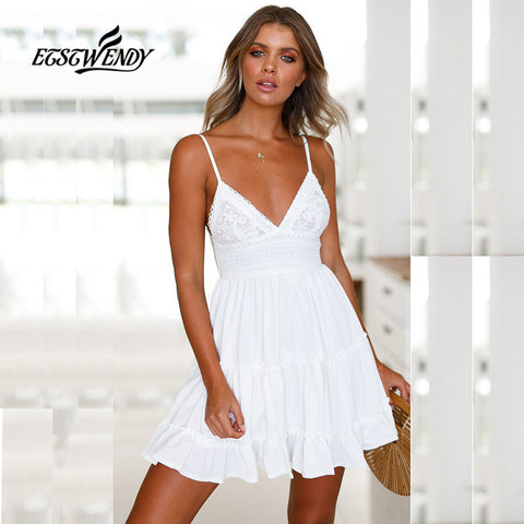ETST WENDY Women V-Neck Spaghetti Strap Women Backless Bow White Lace Mini Beach Dress - MyiCases
