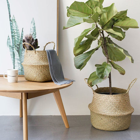 Foldable Natural Seagrass Woven Storage Pot Garden Flower Vase Hanging Basket With Handle Storage Bellied Basket - MyiCases