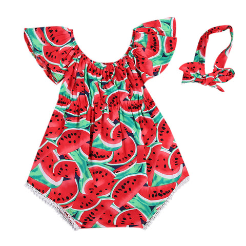 Newborn Baby Girls Watermelon Clothes Casual Sleeveless Red Romper 0-24M