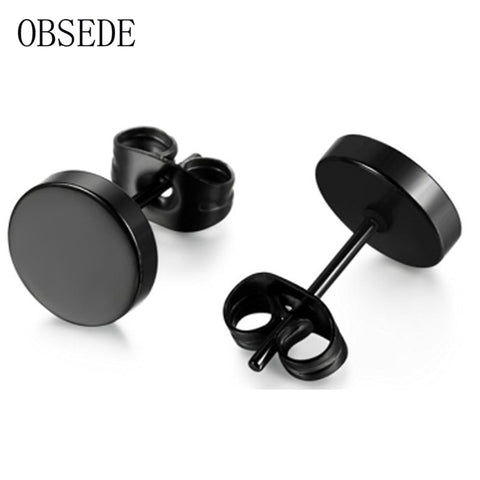 OBSEDE Stainless Steel Ear Studs Black Plated Round Shaped Earrings