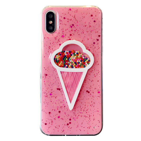 Pink ICECREAM Style Full Protective Bling Glitter Case For iPhone 7 8 PLUS TPU Cover for iPhone X 6 6S Plus Fundas Case