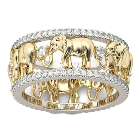 Pure Copper Antique Gold Color Lucky 3D Elephant Ring Romantic Zircon Ring