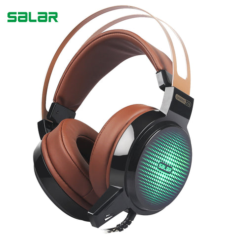 Salar C13 Wired Gaming Headset Deep Bass with microphone led light
