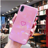 Shiny Plating Love Heart Couples Phone Case For iphone X 8 7 6 6s Cases Candy Color Glossy Silicone Back Cover For iphone X 8 7 PLus