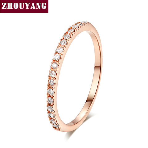 ZHOUYANG Gold Concise Classical CZ Wedding Ring Rose Gold Color Austrian Crystals