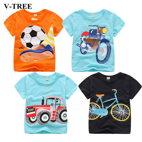 V-TREE Summer Baby Boys T Shirt Cartoon Car Print Cotton 2-8 Year