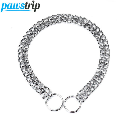 Pawstrip Double Chain Dog Collar Lead Durable Dog Training Collar For Big Dogs S/M/L