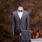 2018 Classic Retro England Plaid Style Men Suit Blazer+Vest+Pants - MyiCases