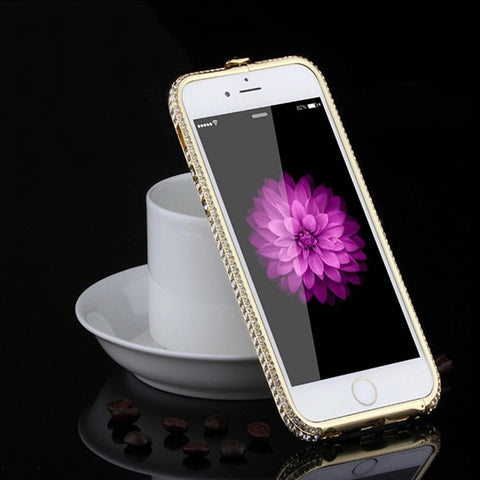 7 Plus Luxury Aluminum Frame Phone Cases For iPhone 7 6 6s Plus SE 5s 5 Case Fashion Bling Diamond Rhinestone Crown Metal Bumper - MyiCases
