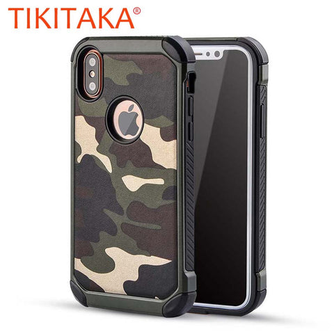 2 in 1 Army Camouflage Case For iphone X Shockproof Armor Cases For iphone 10 Fashion Hybrid Hard PC + Soft TPU Protective Cover - MyiCases
