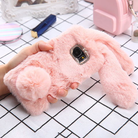 S8 Plus 3D Cute Soft Fluffy Rabbit Warm Fur Case For Samsung Galaxy S8 S7 S6 edge Cover Fashion Elegant Bling Diamond Phone Case