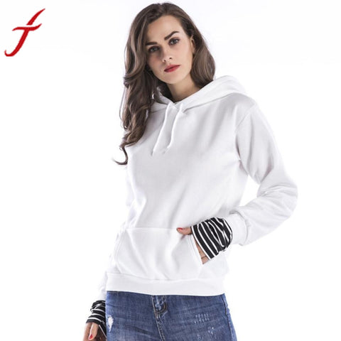 Feitong Hooded Sweatshirt Women Long Sleeve Casual Autumn Winter High Quality Pocket harajuku Hoodies Women Pullover White - MyiCases