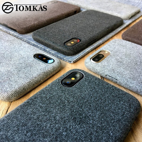 TOMKAS Linen Soft Silicone Case For iPhone X 6 7 8 Cases Luxury Cover Cotton 5.5 Inch Coque Phone Case For iPhone 6S 7 8 Plus