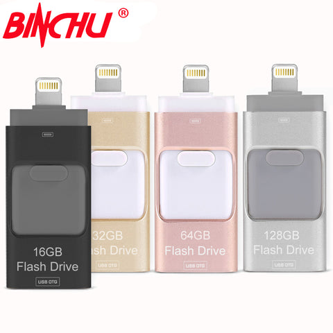 BINCHU iOS10 Lightning OTG Flash Drive 8GB 16GB 32GB 64GB For iOS and USB For PC For Tablet OTG Pendrive for iPhone otg U Disk - MyiCases
