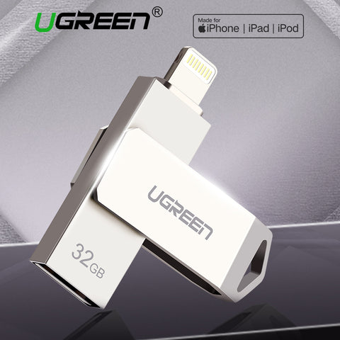 Ugreen USB Flash Drive 32GB 64GB For iPhone 8 7 Plus Lightning to Metal Pen Drive U Disk for MFi iOS10 memory stick 128GB