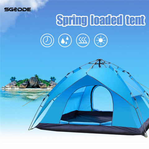 SGODDE 3-4 Persons Waterproof Instant Outdoor Automatic Pop Up Camping Hiking Tent lightweight Beach Folding Tents Sunshelter