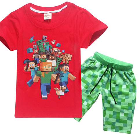 Minecraft Short Sleeve T-Shirts Pants Children's Clothing Set Boys Girl