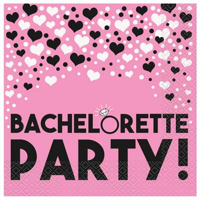 Pink Diamond Ring Bachelorette Party Napkins, luncheon-16ct - Bachelorette Superstore - Bachelorette Party Ideas