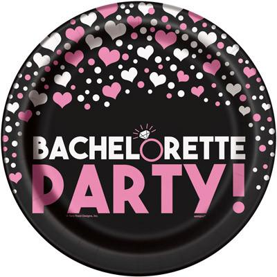 Pink Diamond Ring Bachelorette Party Plates, 9inch-8ct - Bachelorette Superstore - Bachelorette Party Ideas
