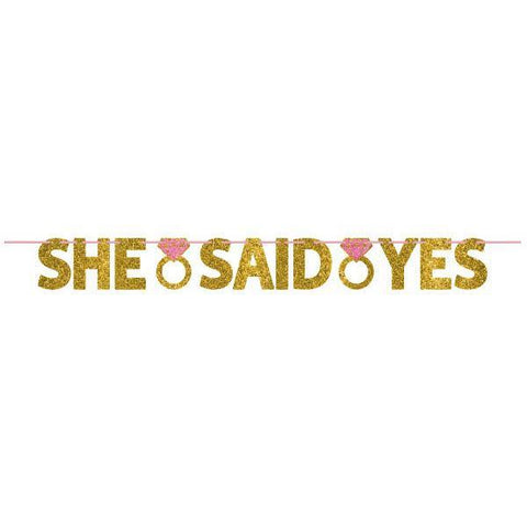 She Said Yes- Glitter Banner, 12 ft - Bachelorette Superstore - Bachelorette Party Ideas