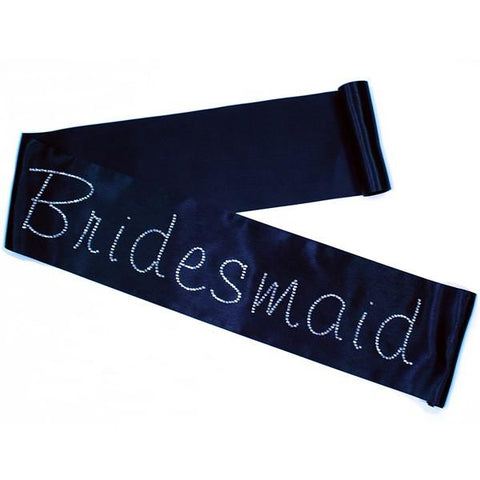 "Rhinestone ""Bridesmaid"" Sash, choose your sash color"