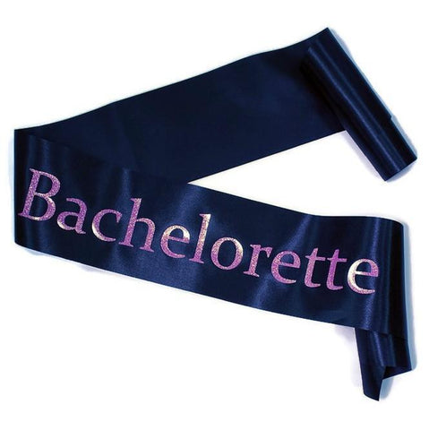 Black Satin w/ Pink 'Bachelorette' Sash, 1 pc