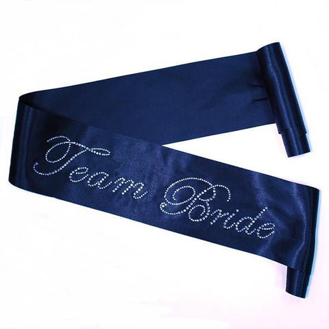 Rhinestone 'Team Bride' Black Sash