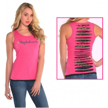 Hot Pink Bachelorette Tank Top w/ lace back, S/M