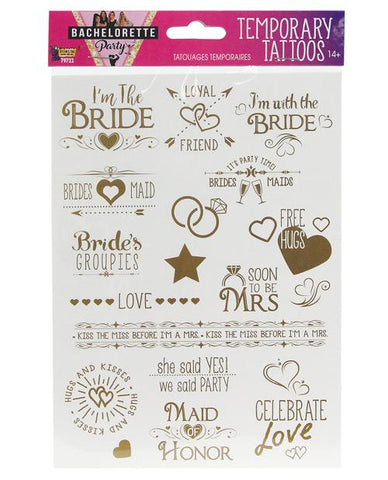 Bachelorette Party Temporary Tattoo Set, 16 tats - Bachelorette Superstore - Bachelorette Party Ideas