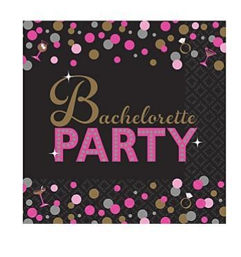 Bachelorette Night Metallic Design Napkins, bev. 16ct - Bachelorette Superstore - Bachelorette Party Ideas