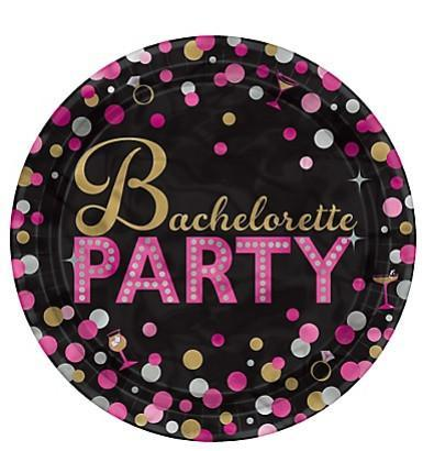 "Bachelorette Night Metallic Design Plates, 7"" 8ct"
