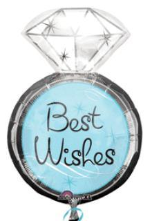 'Best Wishes' Diamond Ring Mylar Balloon