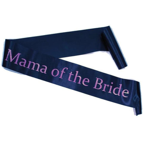Satin Black w/ Pink 'Mama of the Bride' Sash, 1 pc